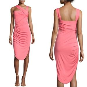 Halston Heritage Asymmetrical Strap Draped Dress